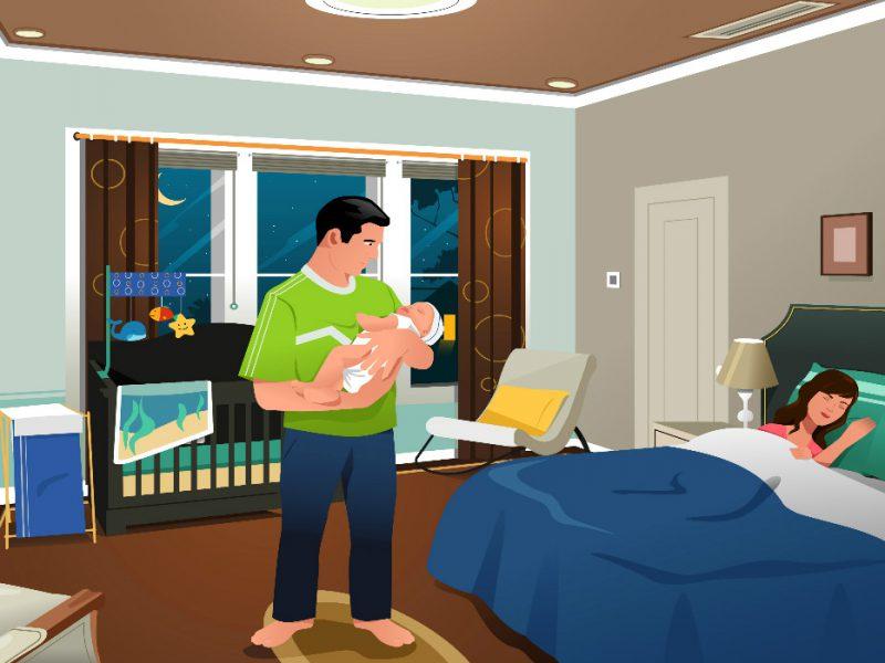 pai cuidando do filho