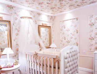 quarto de bebe com estampa floral