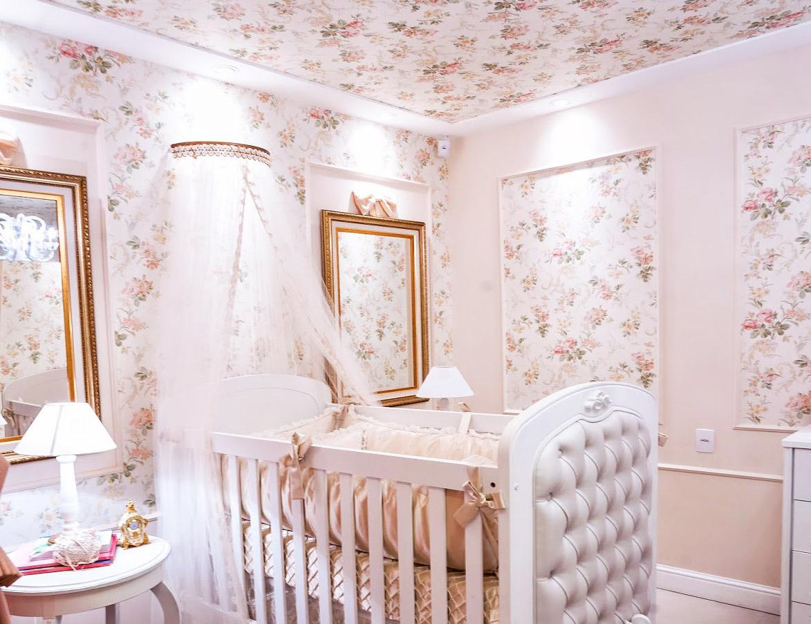 Estampa Floral Forte Tend Ncia Para O Quarto De Beb  ~ Quarto Cinza Feminino Com Nichos Quarto De Menina