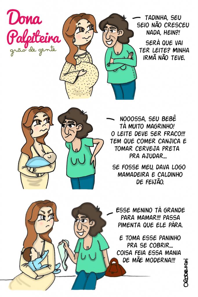 Tirinha Dona Palpiteira, da Grão de Gente, viraliza na web