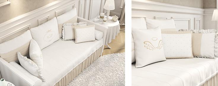 O quarto de bebê Anjo fica completo com o kit cama babá, com bordados e detalhes sofisticados