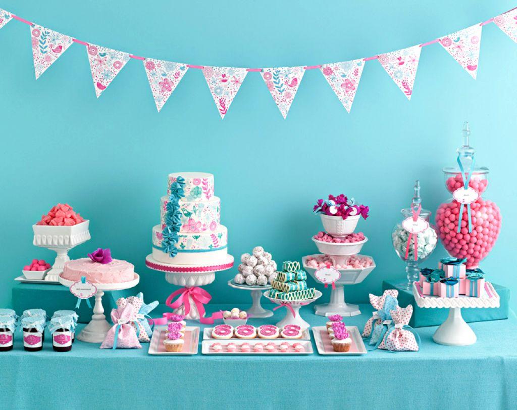 chá de bebê menina azul e rosa