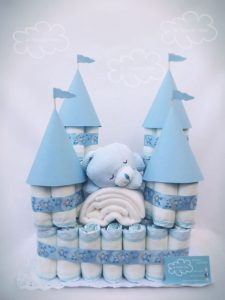 chá de bebê bolo de castelo para menino