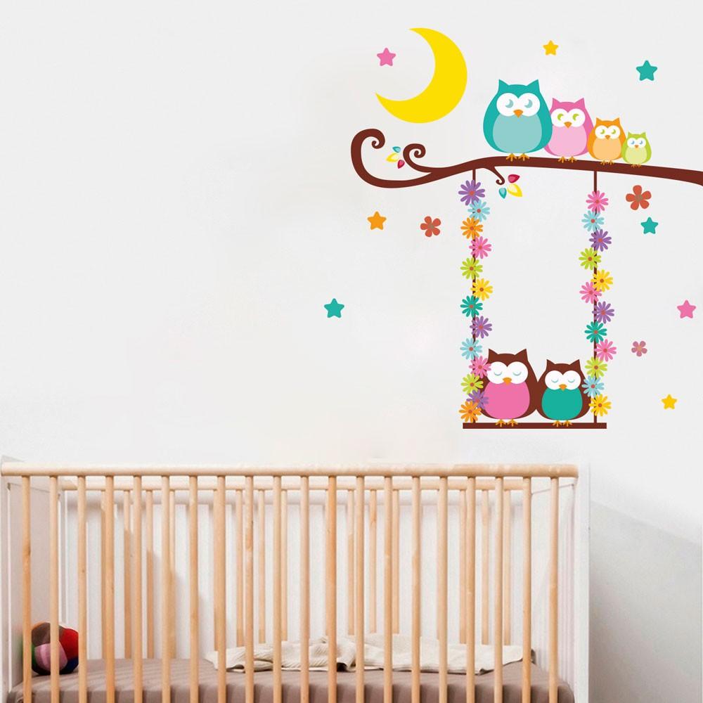 Adesivos De Parede Para Quarto Masculino Infantil Redival Com ~ Decoração Coruja Quarto Bebe E Pinturas Quarto De Bebe
