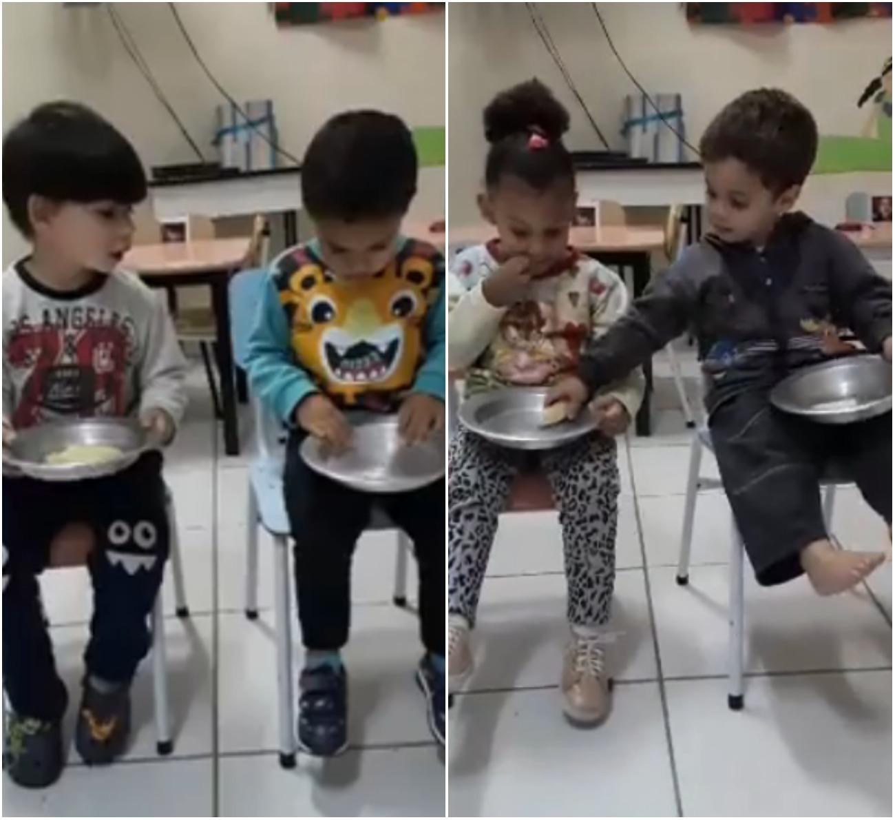 crianças dividindo o lanche