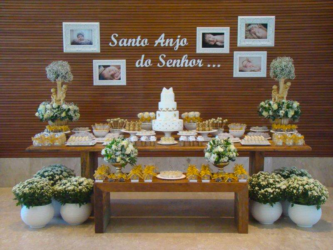 Decoraç u00e3o de batizado ideias para a celebraç u00e3o -> Decoracao De Batizado Branco Com Dourado