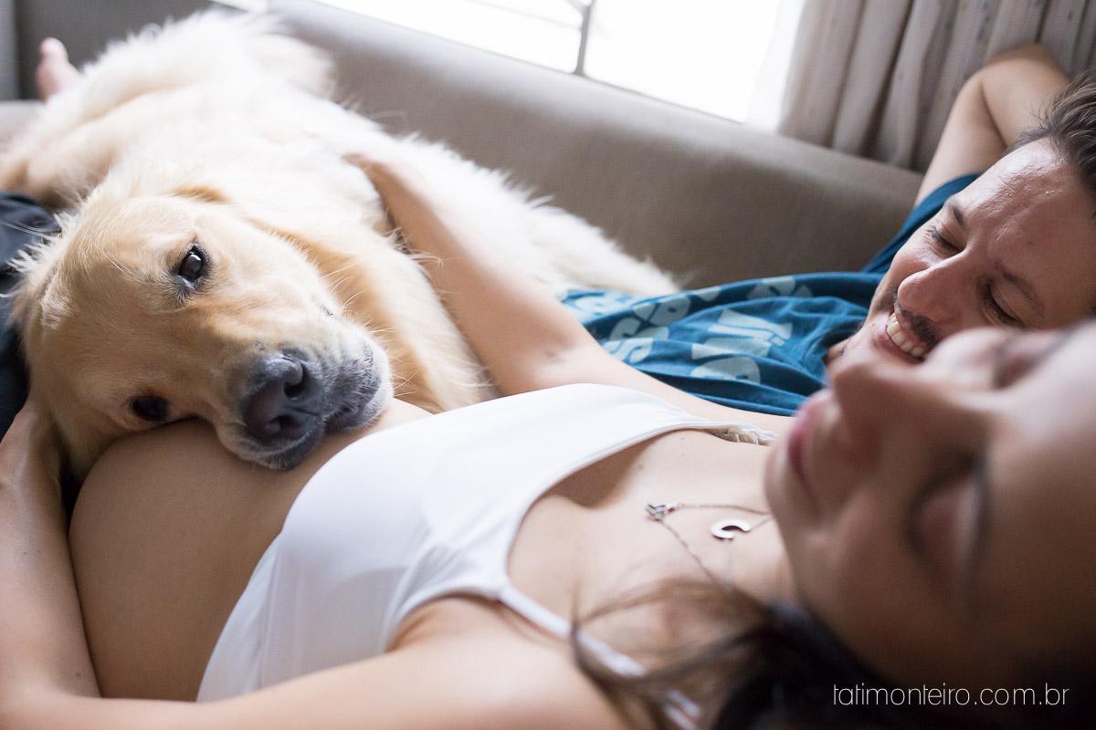 ensaio gestante com cachorro