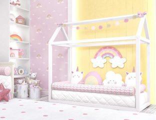 quarto de bebê montessoriano de unicórnio